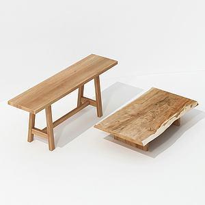 現代實木板凳模型3d模型
