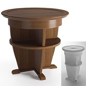 現代實木儲物小圓桌模型3d模型
