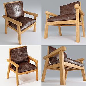现代户外实木椅模型3d模型