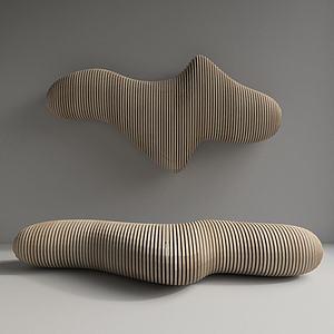 现代木凳墙饰模型3d模型