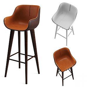现代酒吧椅休闲高脚椅模型3d模型