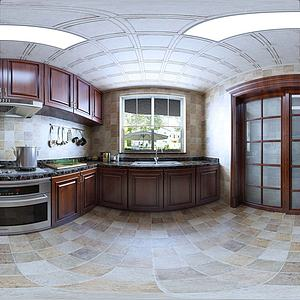 新中式風格廚房全景3d模型