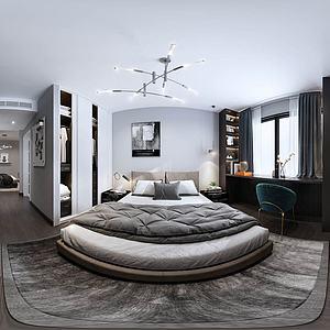 現代簡約風格主臥室全景3d模型