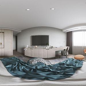 現代簡約風格主全景臥室3d模型