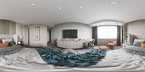 現代簡約風格主全景臥室模型3d模型