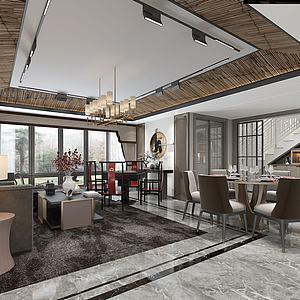 新中式別墅客餐3d模型