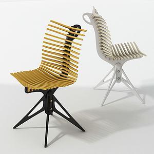 现代鱼骨休闲椅办公椅模型3d模型