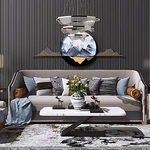 新中式沙發組合3d模型