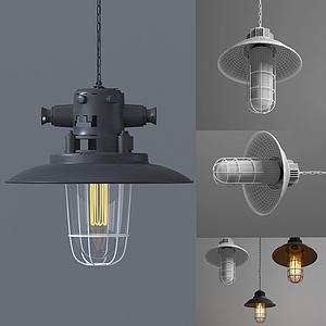 美式復古灰黑吊燈3d模型