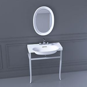 现代卫生间洗手台模型3d模型