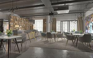 工业风格餐厅模型3d模型