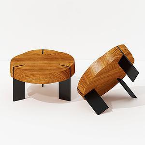 現代實木圓形茶幾咖啡桌模型3d模型
