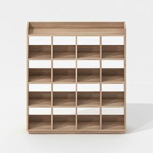簡歐實木簡約書架儲物柜模型3d模型