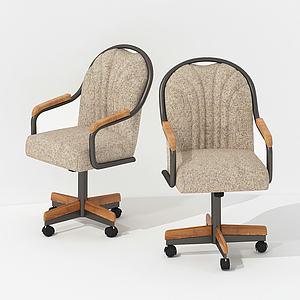 美式休閑移動辦公椅模型3d模型