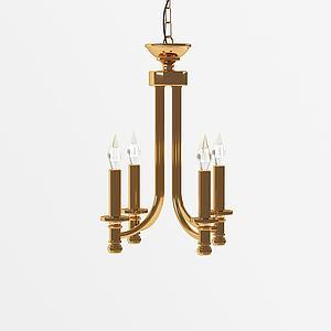 美式蠟燭式吊燈模型3d模型