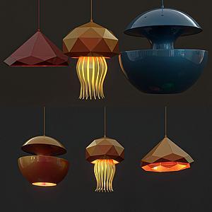 現代色彩不規則吊燈3d模型