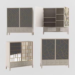 現代裝飾儲物柜邊柜3d模型