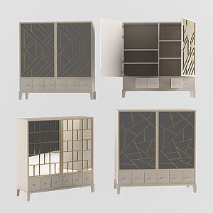 現代裝飾儲物柜邊柜模型3d模型