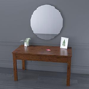 現代鏡子書桌簡約梳妝柜3d模型