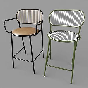 現代鐵藝室內椅3d模型