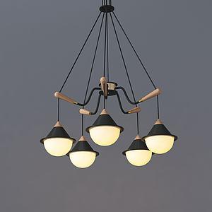 簡歐小花苞吊燈3d模型
