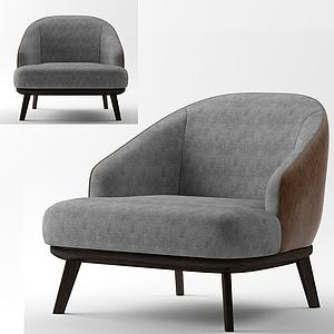 簡歐高級灰休閑沙發3d模型