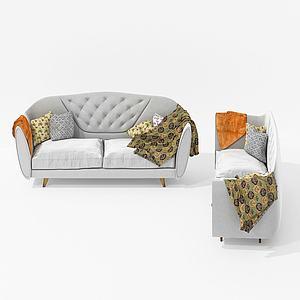 美式休閑室內雙人沙發3d模型