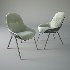 美式休閑絨面單椅3d模型