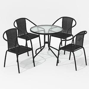 美式休閑室內桌椅戶外3d模型