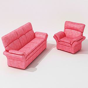 美式粉色皮革單人沙發3d模型