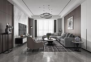 现代客厅餐厅模型3d模型