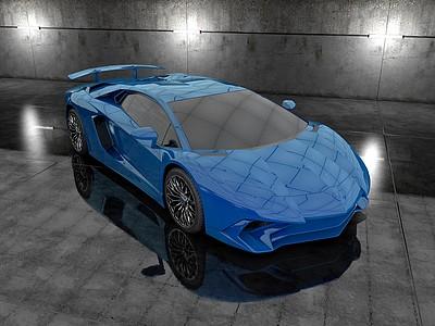C4D跑車模型