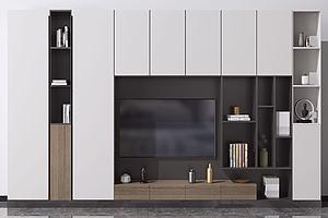 现代电视背景墙模型3d模型
