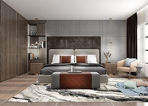 现代风格的卧室模型3d模型