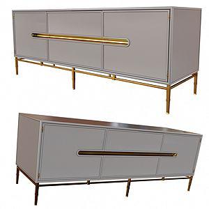 簡歐高級灰電視柜模型3d模型