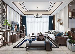 新中式客厅模型3d模型
