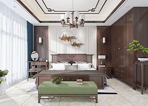 新中式主卧室模型3d模型