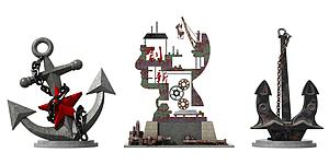 工业风抽象艺术船锚雕塑模型3d模型