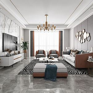 现代客厅餐厅3d模型