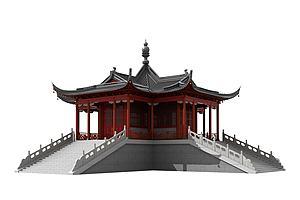 中式古建寺庙佛寺舍利殿3模型3d模型