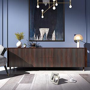現代輕奢電視柜3d模型