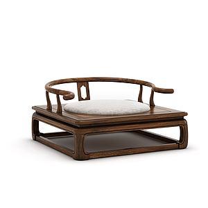 新中式禪意實木圈椅3d模型