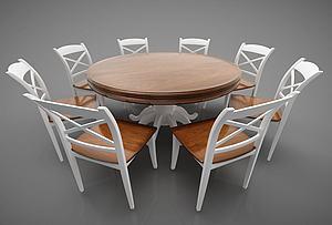 简约圆餐桌模型3d模型