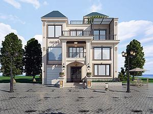 現代風格別墅建筑模型3d模型