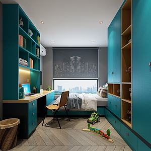 现代小孩房书房3d模型