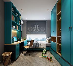 現代小孩房書房模型3d模型