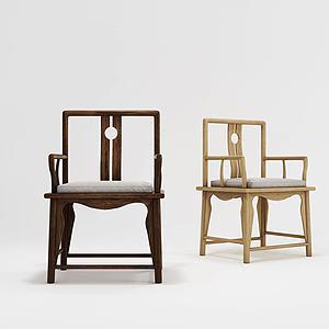 現代中式單椅3d模型
