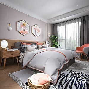 北欧风格卧室模型3d模型