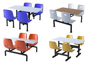 现代食堂餐厅连体桌椅模型3d模型