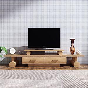 現代原木電視柜3d模型